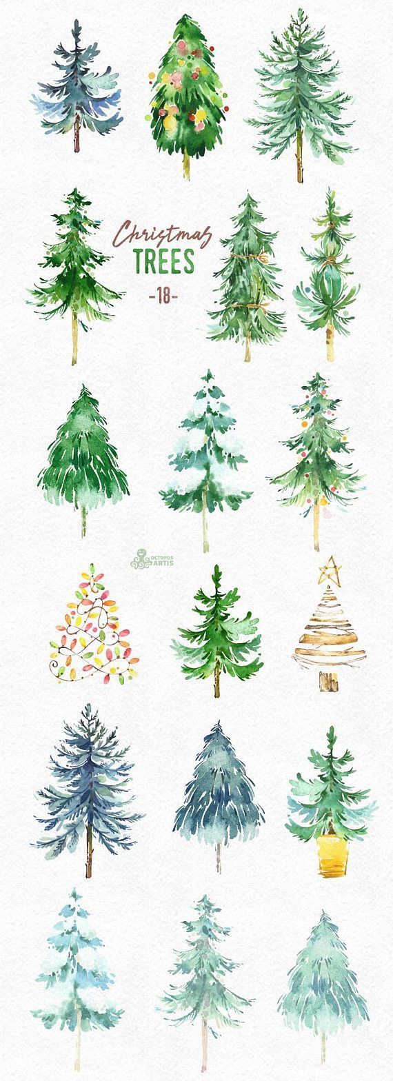18 trees clipart picture freeuse library Christmas Trees. 18 Watercolor holiday clipart, conifers ... picture freeuse library