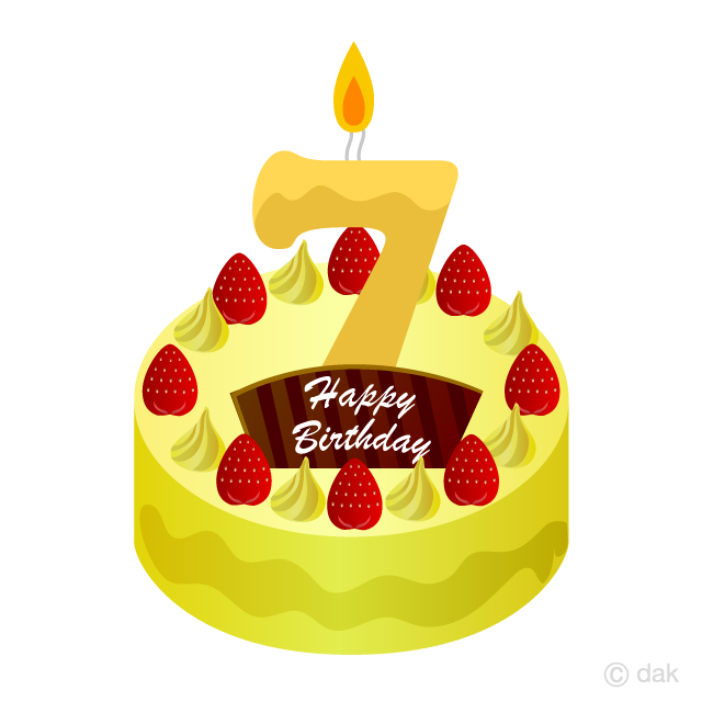 7 Years Old Candle Birthday Cake Clipart Free Picture|Illustoon banner free download