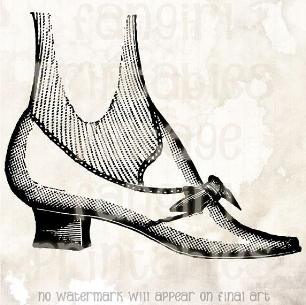 1800s shoe clipart clip art Women\'s Victorian Shoe Art Printable – Digital JPGs & PNG Instant ... clip art