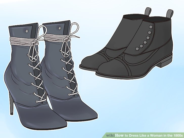 1800s shoe clipart svg black and white stock How to Dress Like a Woman in the 1800s: 14 Steps (with Pictures) svg black and white stock