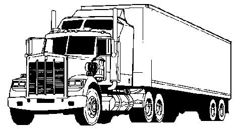 Clip art black and. Free clipart semi truck