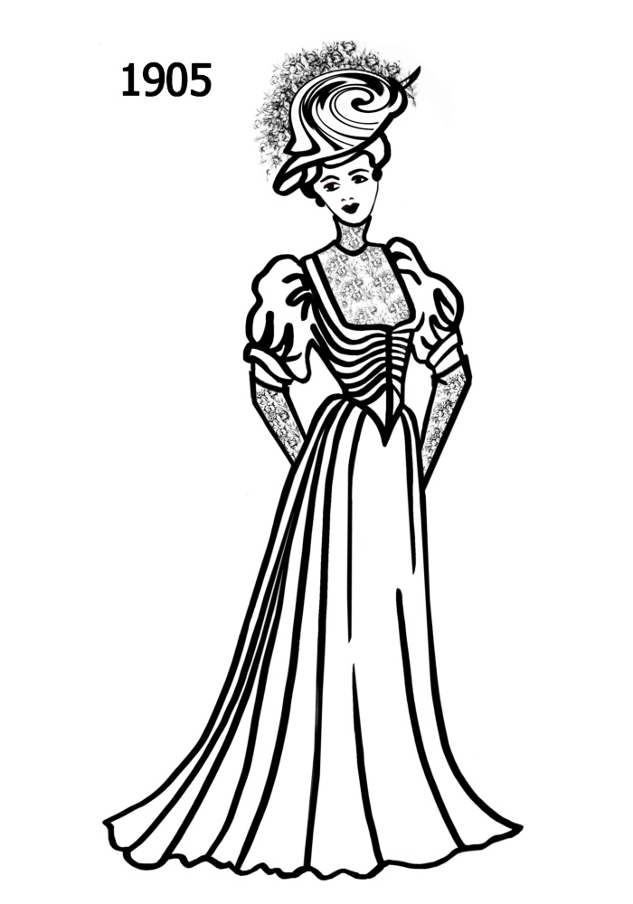 1900s silhouette clipart jpg stock Costume Silhouettes 1900-1910 Free Line Drawings - Fashion History ... jpg stock
