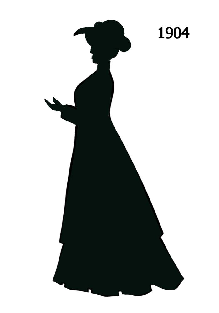 1900s silhouette clipart transparent stock Free Black Silhouettes 1900-1910 in Costume History 1a - Fashion ... transparent stock
