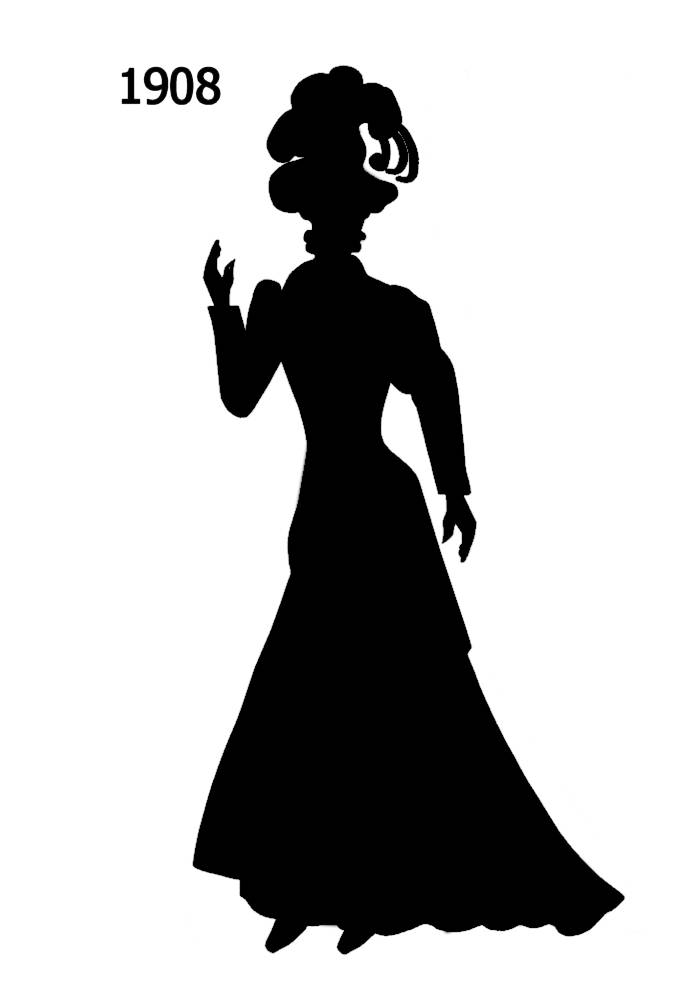 1900s silhouette clipart picture transparent stock Free Black Silhouettes 1900-1910 in Costume History 1a - Fashion ... picture transparent stock
