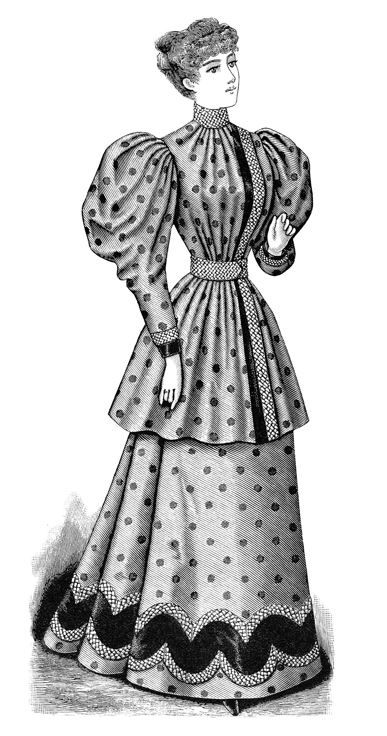 1900s woman in dress clipart black and white banner freeuse library Victorian lady clip art, old fashioned polka dot dress illustration ... banner freeuse library
