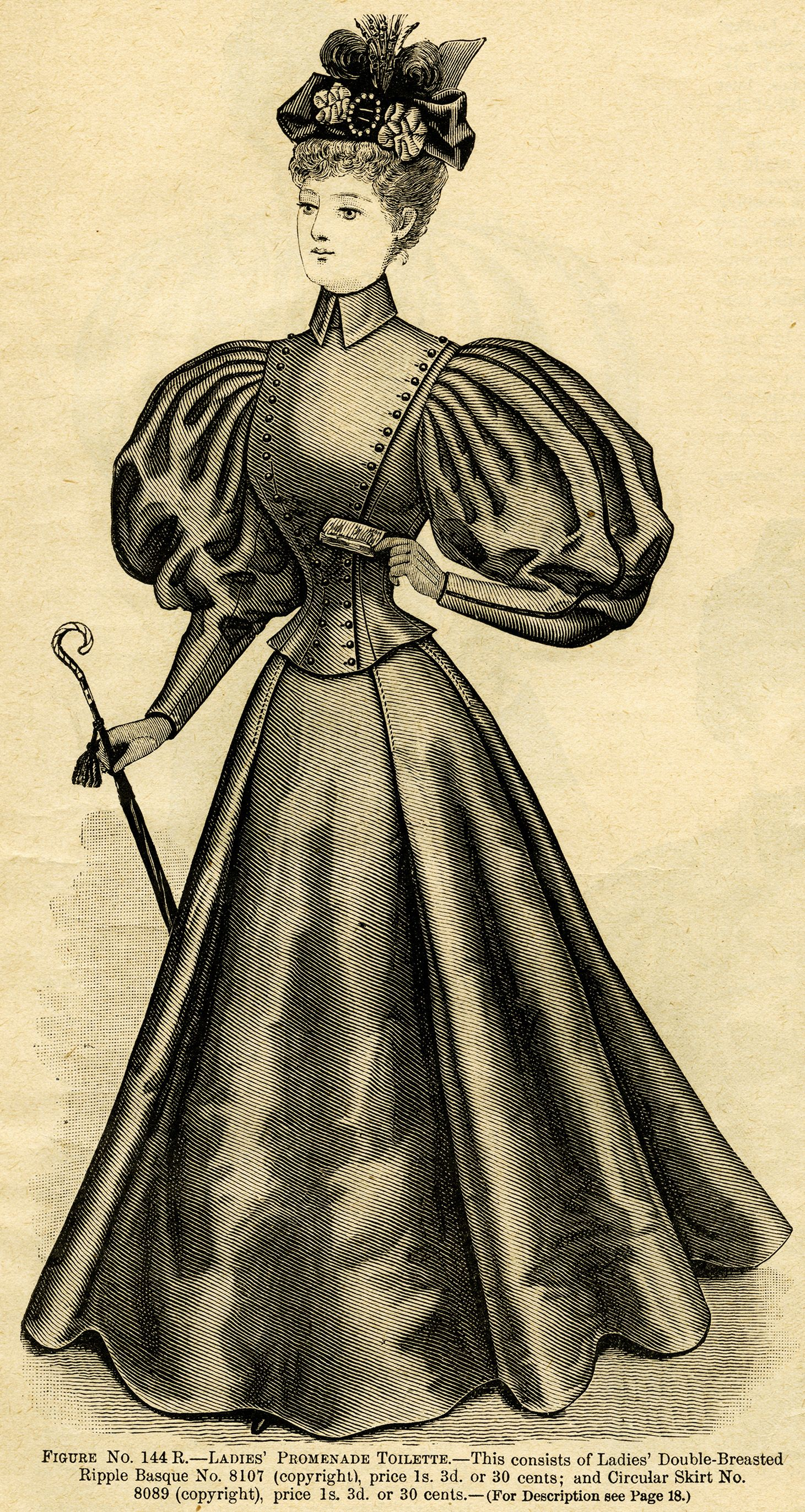 Victorian lady with umbrella clipart