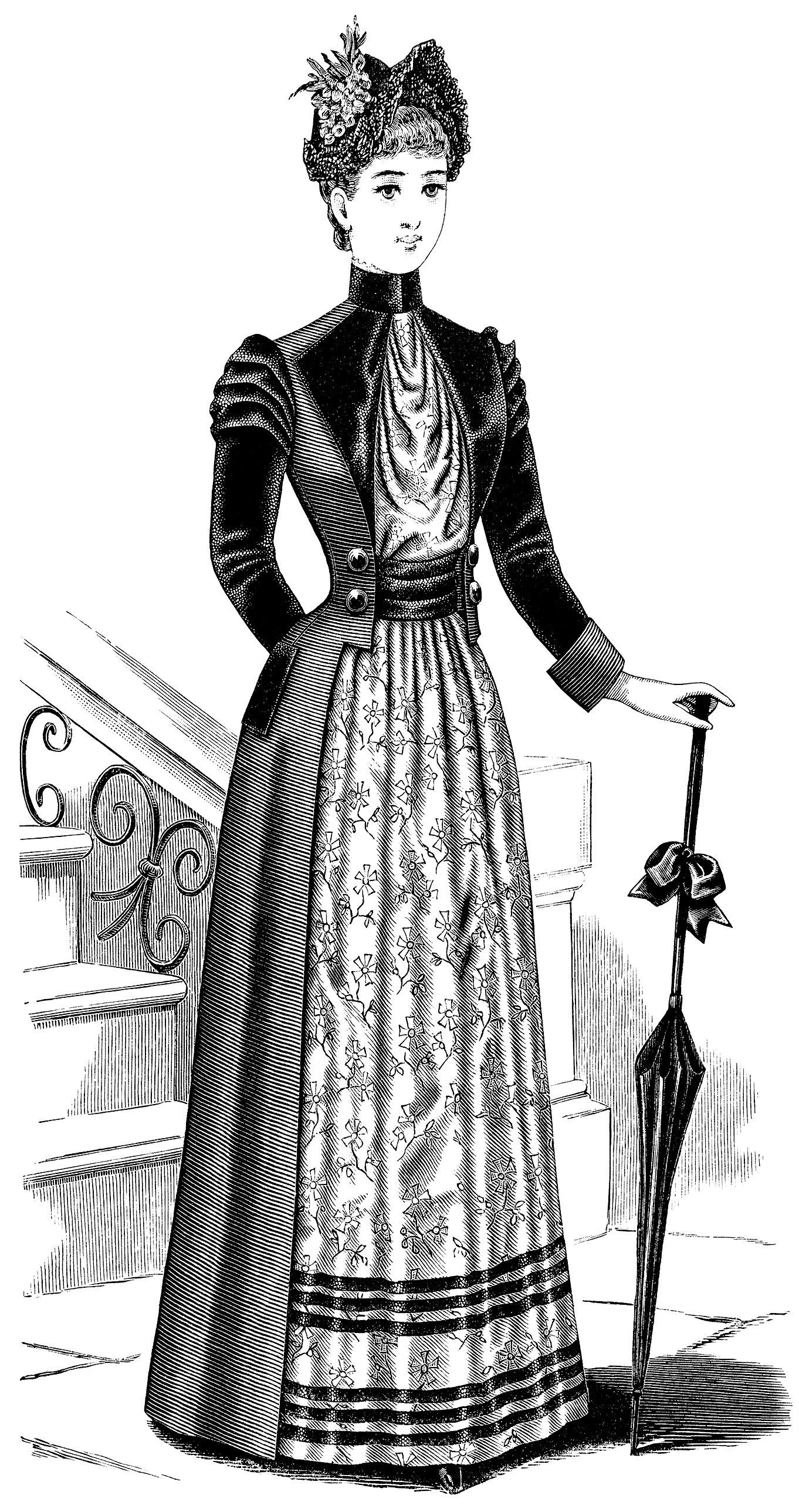 1900s woman in dress clipart black and white jpg transparent library Victorian Ladies\' Toilette ~ Free Clip Art (black and white version ... jpg transparent library