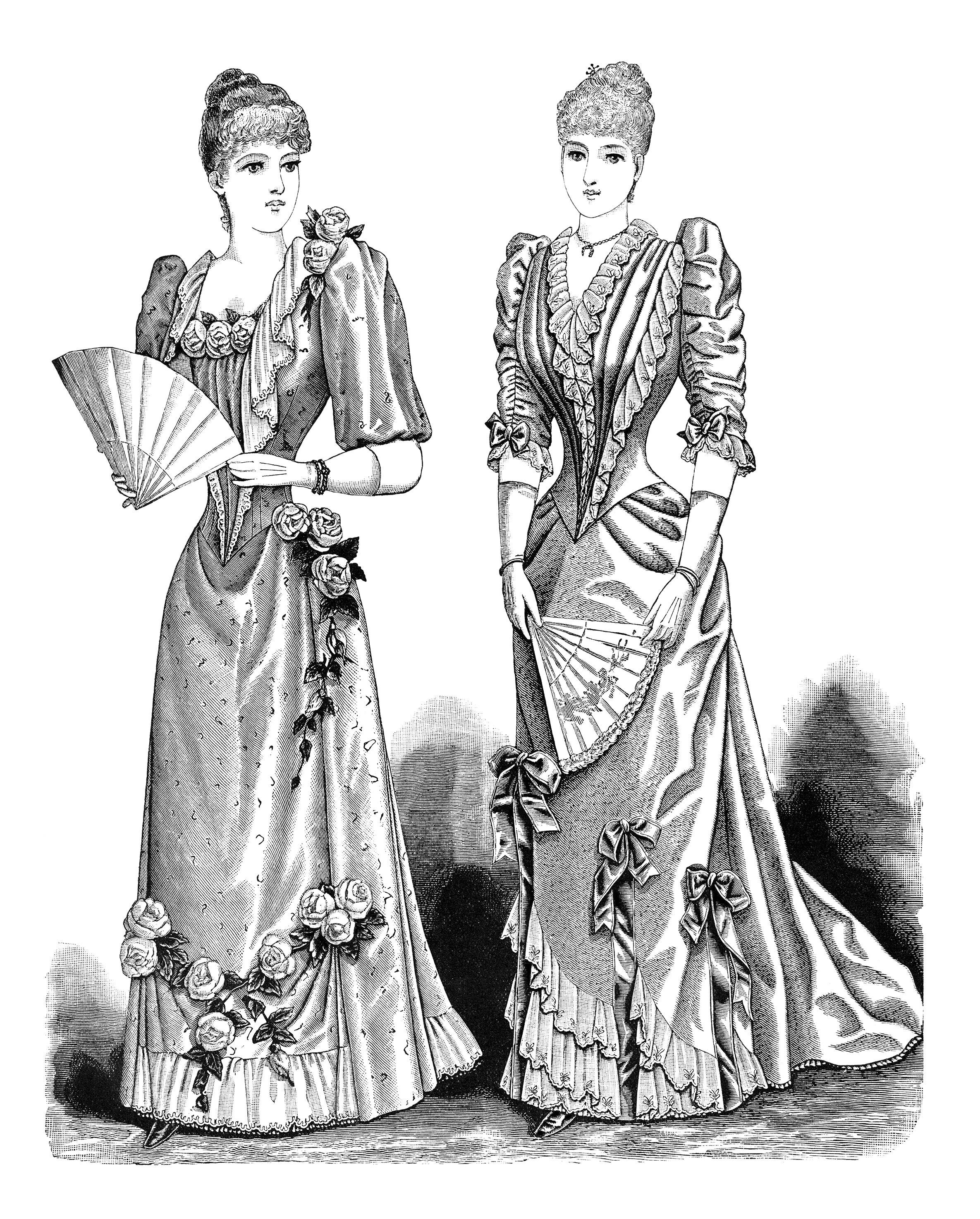 1900s woman in dress clipart black and white jpg free download victorian lady clip art, antique fashion illustration, black and ... jpg free download