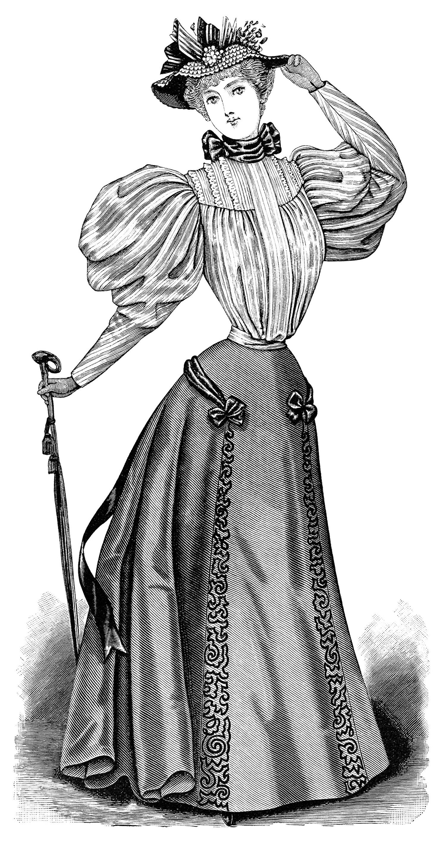1900s woman in dress clipart black and white vector library stock Victorian lady, vintage dress clipart, Edwardian fashion image ... vector library stock