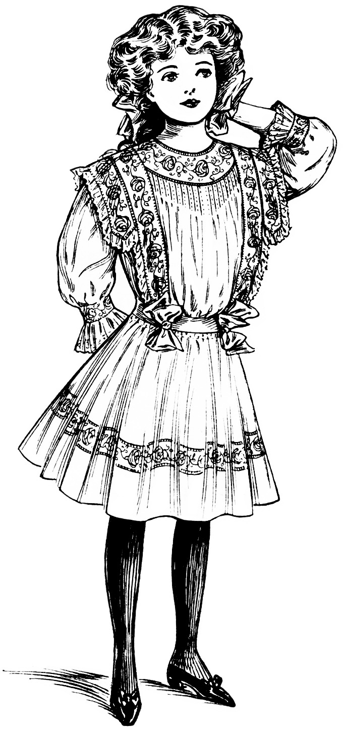 1900s woman in dress clipart black and white clipart free library Victorian Girl Clipart - Old Design Shop Blog clipart free library