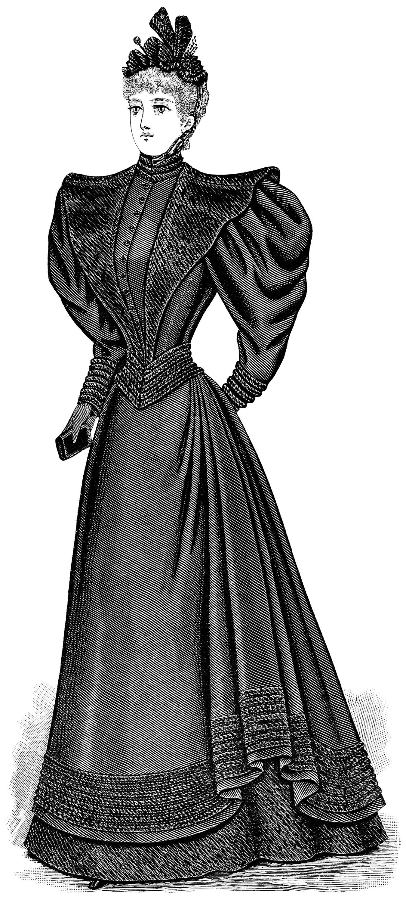 1900s woman in dress clipart black and white clip free library Victorian lady clip art, antique mourning dress, black and white ... clip free library