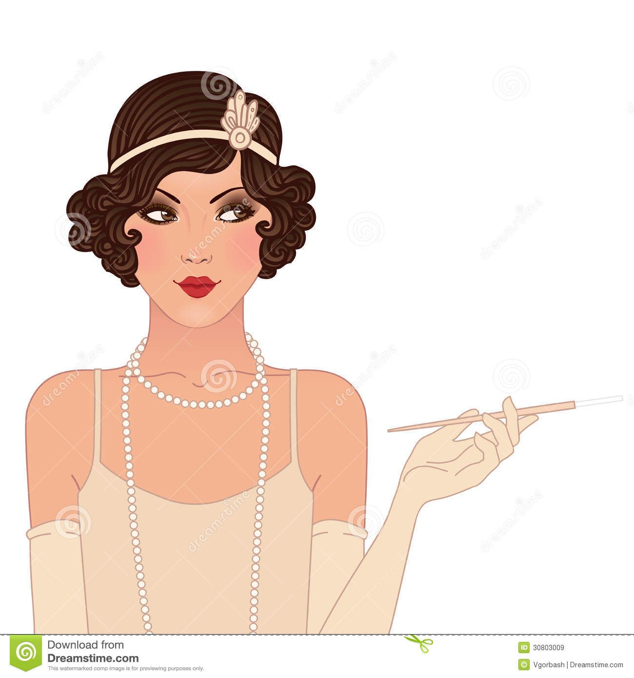 1920 s woman black and white clipart svg transparent download Flapper Girl Vintage Woman In 1920s Style Gdansk Royalty Free ... svg transparent download