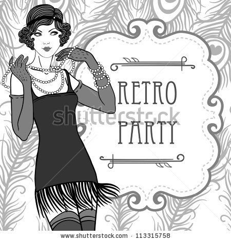1920 s woman black and white clipart graphic royalty free download Roaring 20s Gangster Clip Art | ... girls set: retro party ... graphic royalty free download