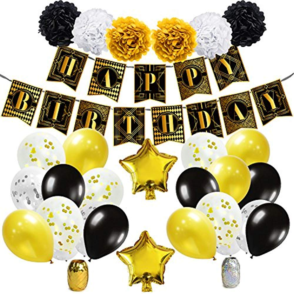 1920s birthday party clipart banner black and white library Details about Roaring 20s Party Decorations 1920s Themed Birthday Supplies,  Black And Gold Pom banner black and white library