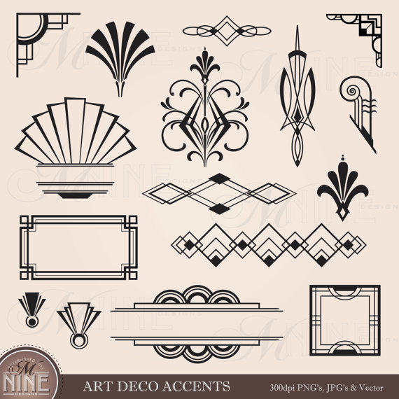 1920s design clipart clip transparent stock Digital Clipart ART DECO Design Elements Frames / Borders ... clip transparent stock