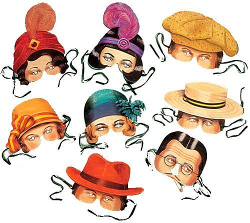 1920s masks clipart banner freeuse Twenties Masks (1920\'s) - Assorted - Pack of 8 banner freeuse