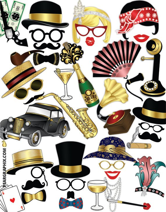 1920s masks clipart vector royalty free Great Gatsby Photo Booth Props / Roaring 20s Party Props, 1920s ... vector royalty free