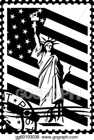 1930 clipart black and white jpg library EPS Vector - Postage stamp with the symbols of a. Stock Clipart ... jpg library
