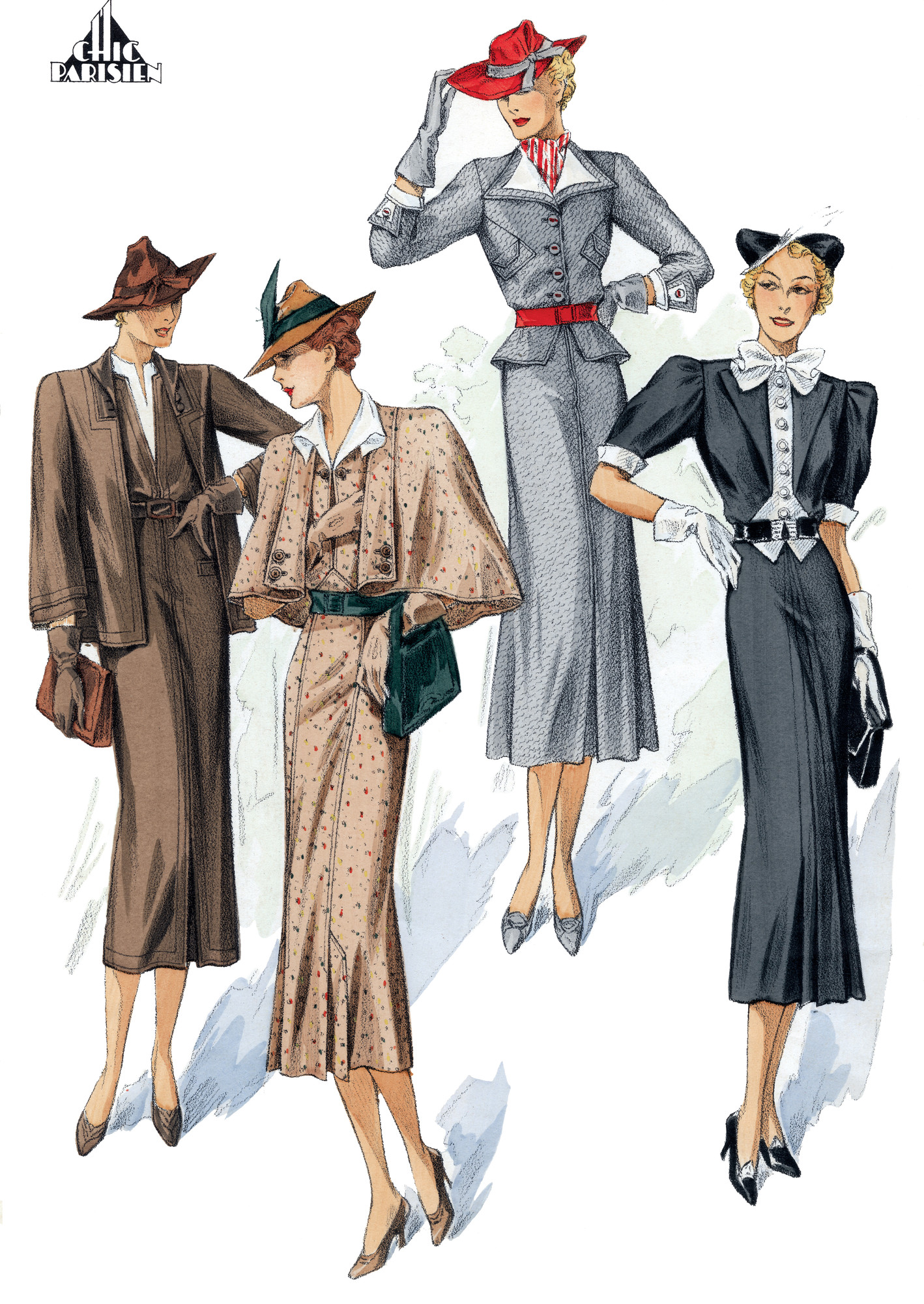 1930 s fashion clipart picture free download 1930\'s Winter Fashion:Four Suits in Gray and Brown picture free download