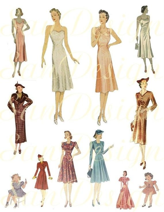 1930 s fashion clipart clip free library 1920s 1930s Women fashion Digital Collage Sheet by SanDesign, $1.95 ... clip free library