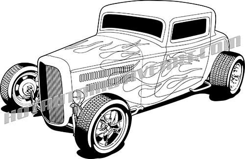 Clipart hot rod picture free download 1932 Hot Rod Vector Black Line Art picture free download