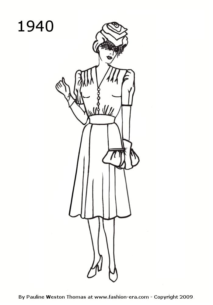 1940 s girl clipart black graphic download Costume History Dress Silhouettes 1940s Free Line Drawings of ... graphic download