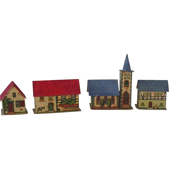 1950 cottage house clipart png Germany Litho Putz Village House Lot of 4 | Village houses png