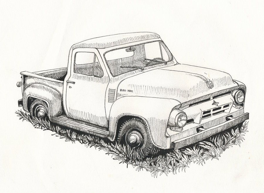 1950 ford truck clipart image royalty free library Old Ford Truck Drawing | sketches | Truck coloring pages, Old ford ... image royalty free library