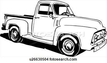 1950 ford truck clipart jpg black and white Ilustración, lineart, clásico, 1953, ford, recolección, camión ... jpg black and white
