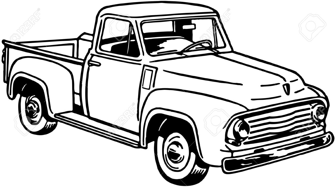 Vintage pickup truck bed black and white clipart image black and white library Ford Truck Clipart | Free download best Ford Truck Clipart on ... image black and white library