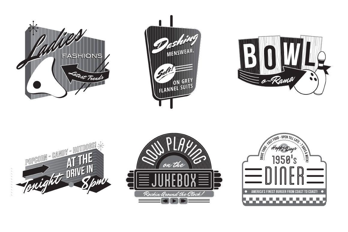 1950 s fonts clipart