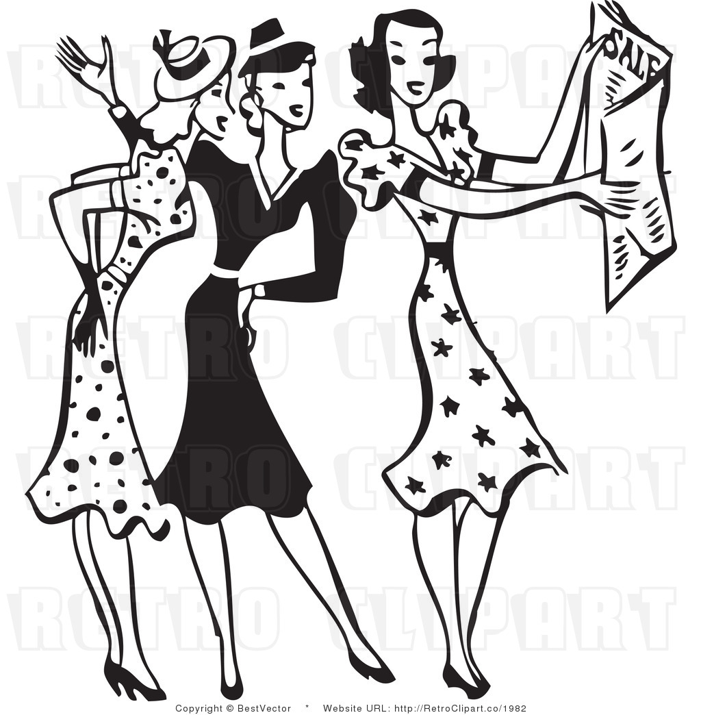 Black and white clipart women shopping at the mall graphic library stock 1950s Images Clipart | Free download best 1950s Images Clipart on ... graphic library stock
