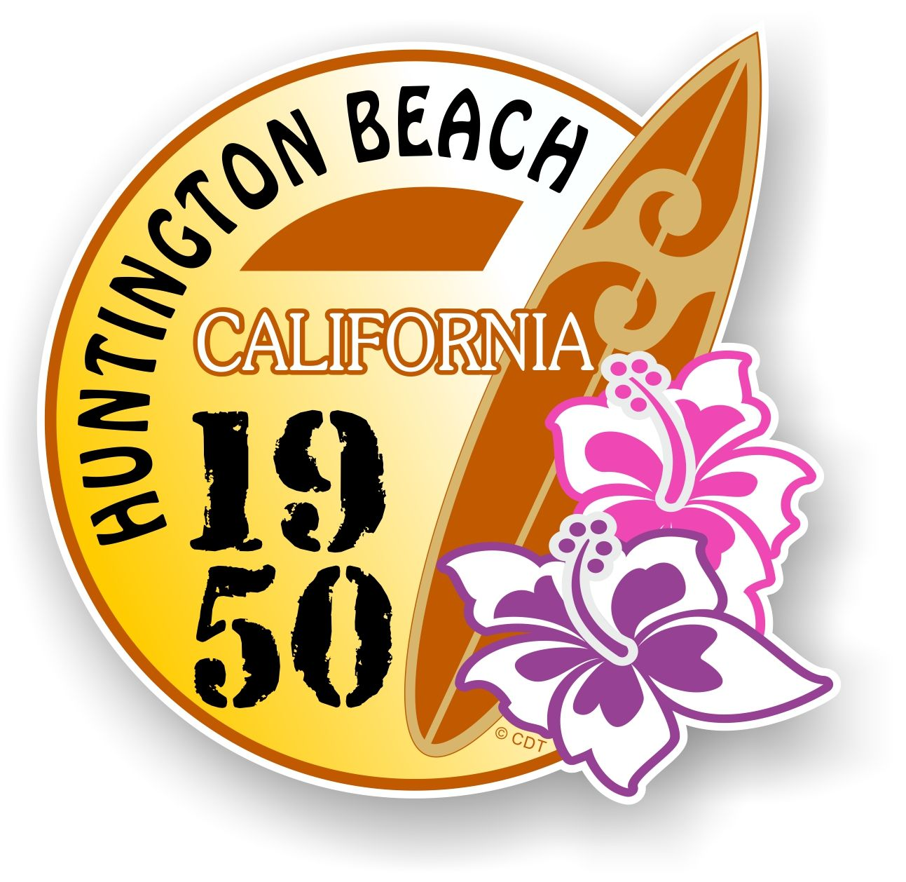 1950 surf clipart vector royalty free stock Huntington Beach 1950 Surfer Surfing Design Vinyl Car sticker decal 95x98mm vector royalty free stock