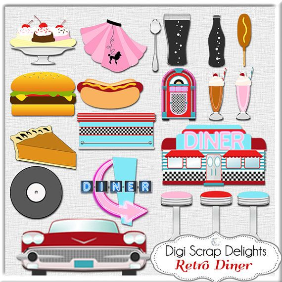 1950s theme background clipart red picture library stock Retro 1950s Diner in Red, Aqua, Turquoise Digital Clip Art for ... picture library stock