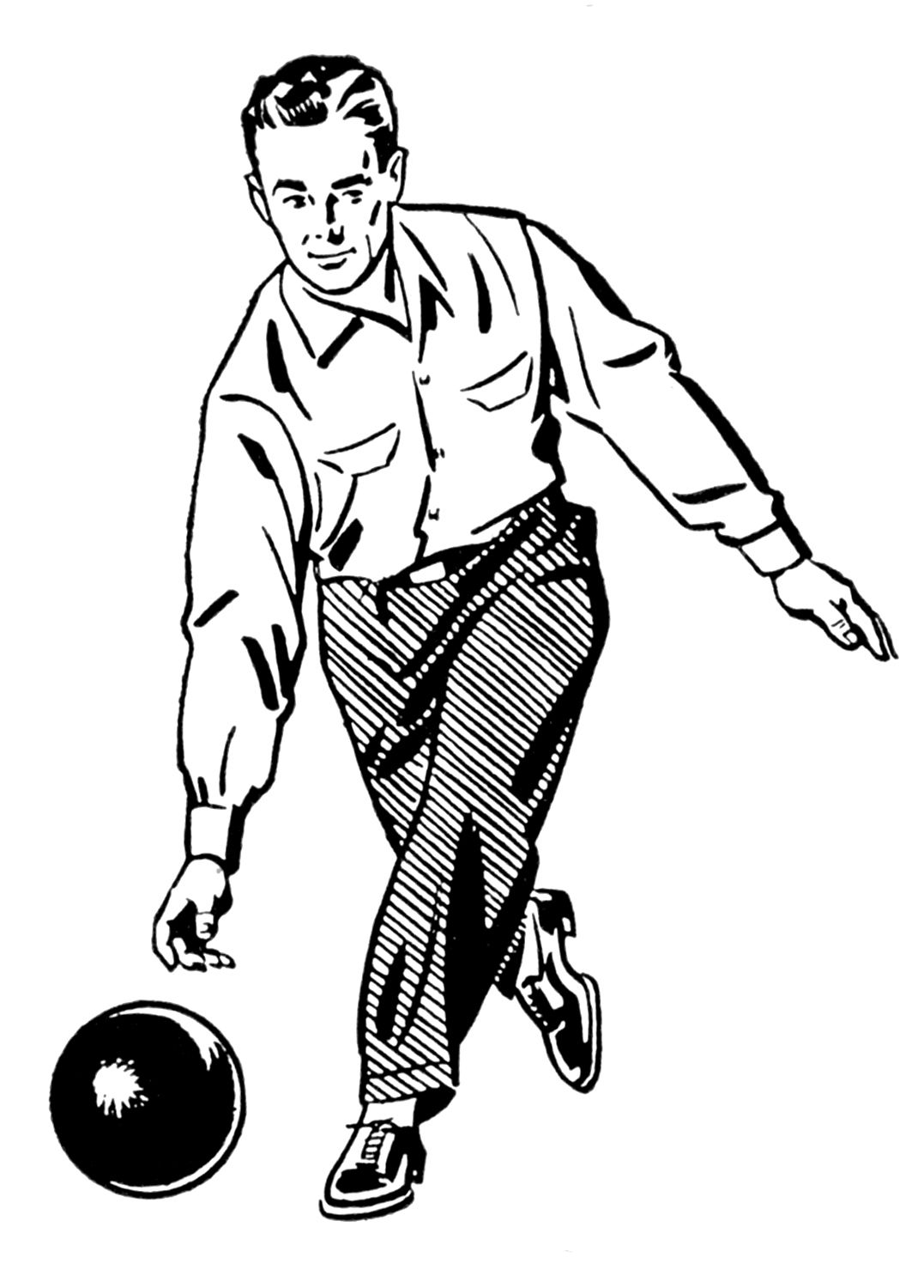 Clipart bowler clip art royalty free stock Retro Clip Art - Woman and Man Bowling | BOWLING | Clip art, Female ... clip art royalty free stock