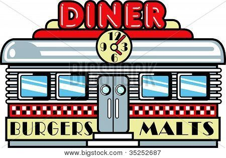 Vintage dine-in signs digital clipart