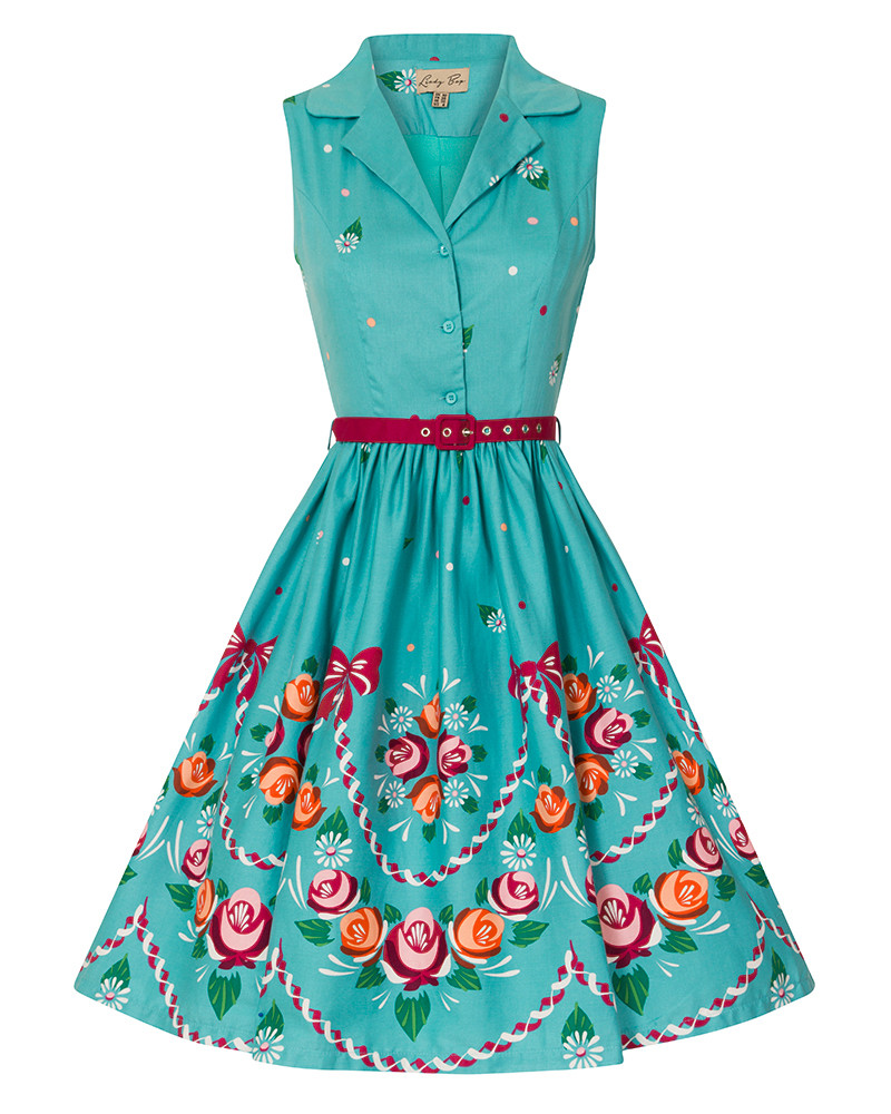 1950s dress on form clipart vector library download \'Matilda\' Adorable 1950s Inspired Teal Canal Folk Floral Shirt Dress vector library download