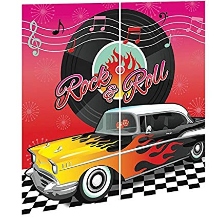 1950s theme background clipart red image royalty free amscan Nifty 50\'s Theme Party Rock & Roll Scene Setters Wall Decorating  Kit, Multicolor, 65\