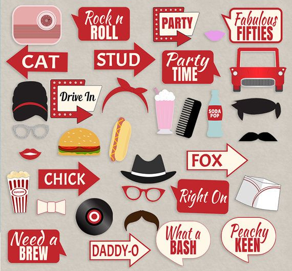 1950s theme background clipart red jpg black and white download 35 Retro 50s Theme Party Props, Red and Cream Diner Party photo ... jpg black and white download