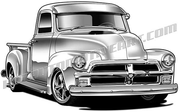 1954 chevy truck clipart clipart transparent stock 54 Chevy custom pickup truck artwork | Custom / Classic Pickup ... clipart transparent stock