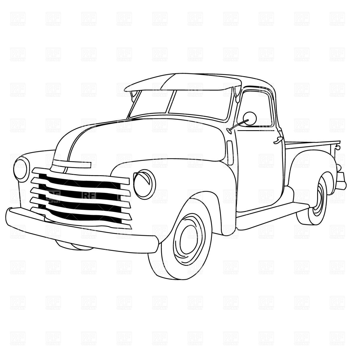 Vintage pickup truck bed black and white clipart banner black and white library Classic Car Vector Art Old american pick-up truck | Retro any Hot ... banner black and white library