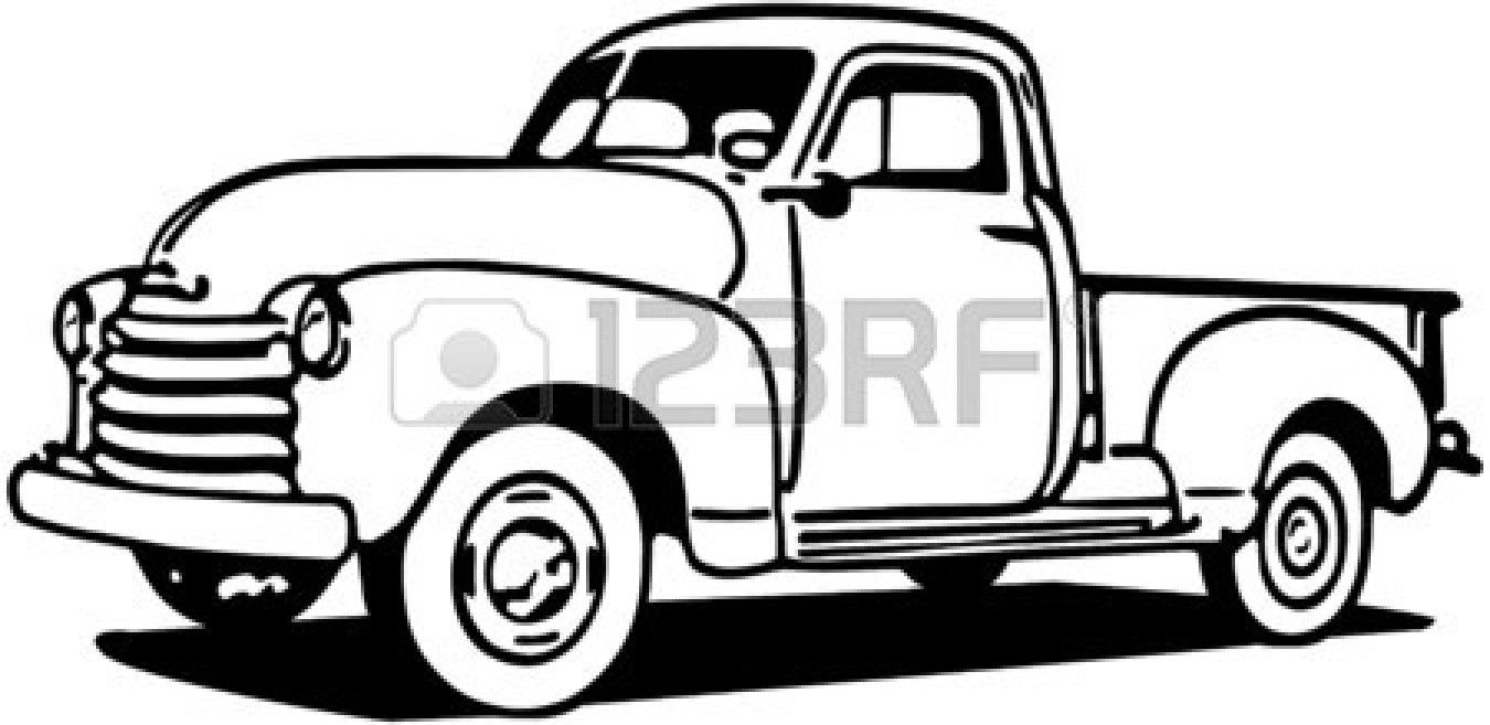 Vintage pickup truck bed black and white clipart clipart free stock Stock Vector | Tees | Truck coloring pages, Chevy pickup trucks ... clipart free stock