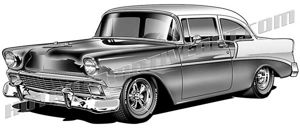 1956 chevrolet clipart free vector black and white stock 1956 Classic Custom Coupe - JPEG vector black and white stock