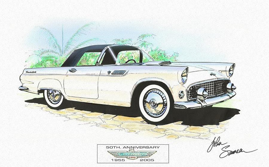 1956 t-bird clipart transparent download custom car Drawings gift men framed sale | 1955 Ford Thunderbird ... transparent download