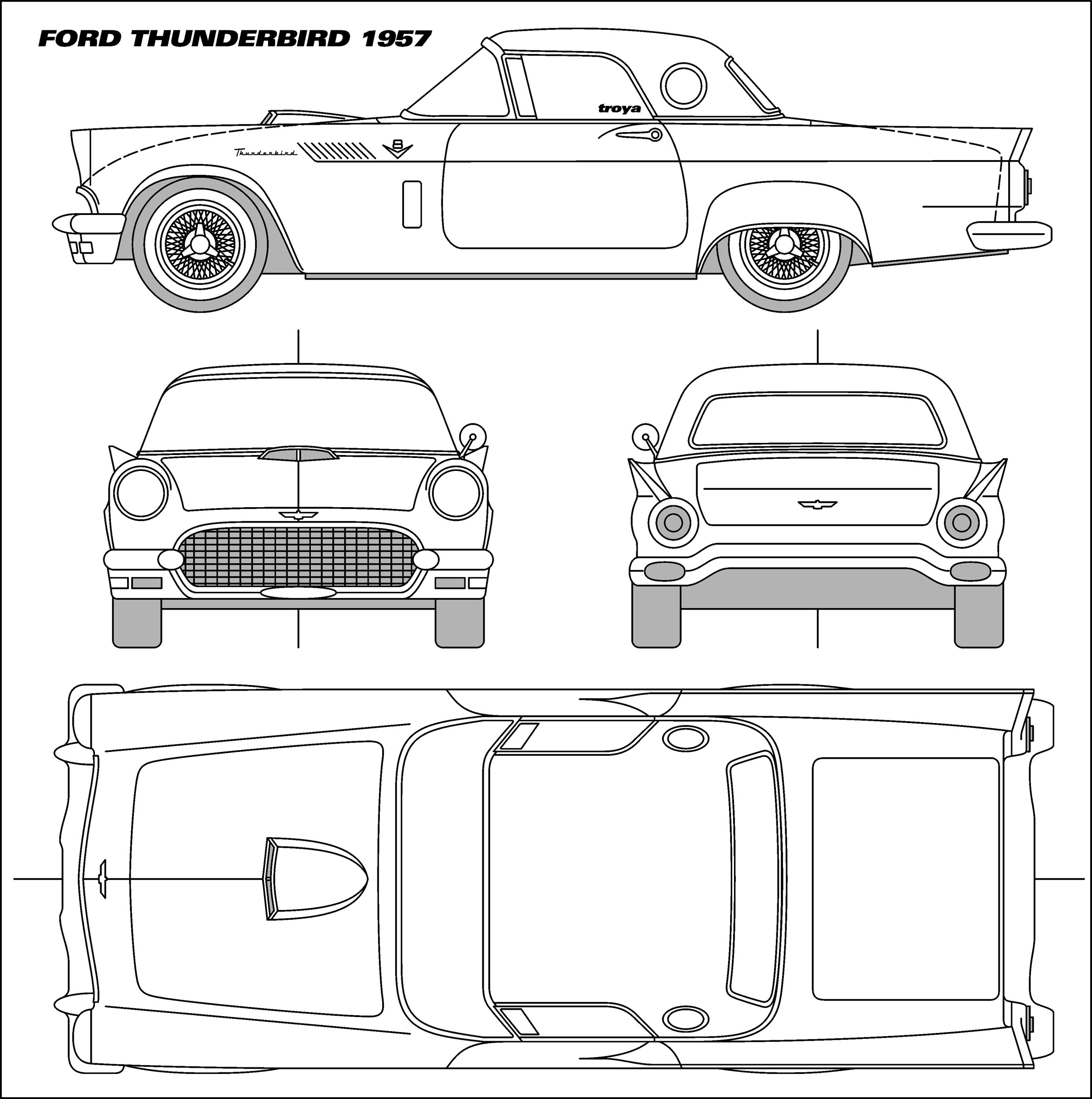 1956 t-bird clipart image library Ford Thunderbird 1957 Blueprint - Download free blueprint for 3D ... image library