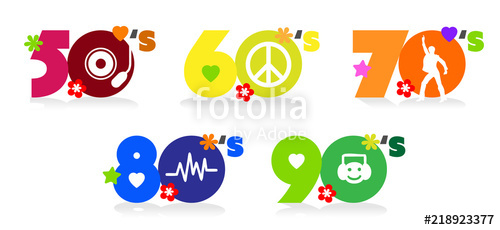 1960 1970s clipart svg library stock Music of fifties, sixties, seventies eighties and nineties\