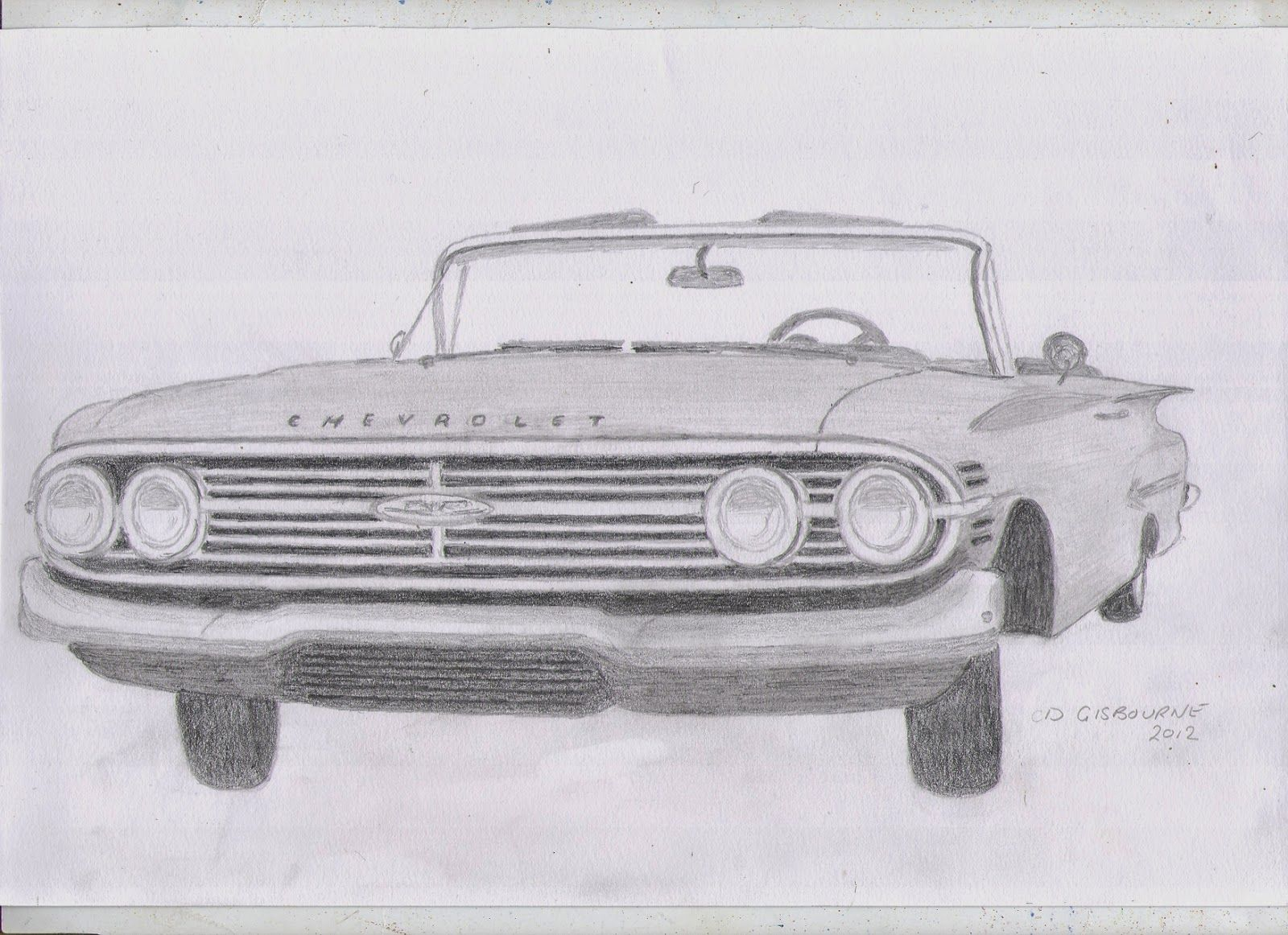 1960 car clipart free graphic transparent library Pencil drawing of a 1960 Chevrolet Impala | cars | Car drawing ... graphic transparent library