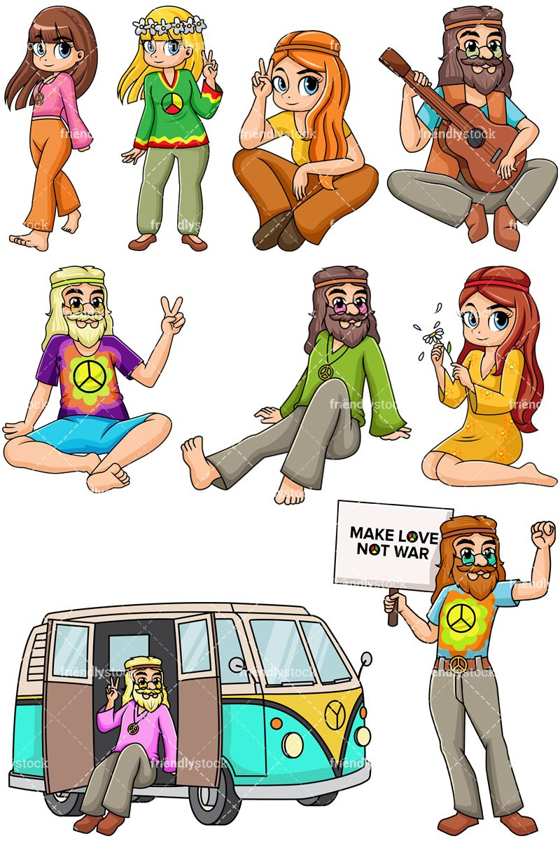 Hippie style hat clipart picture transparent download 1960s Hippies Collection | Clip Arts in 2019 | Hippie art, Clip art ... picture transparent download