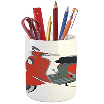 1960s office clipart banner library library Amazon.com : Pencil Pen Holder, 1960s Decorations, Printed Ceramic ... banner library library