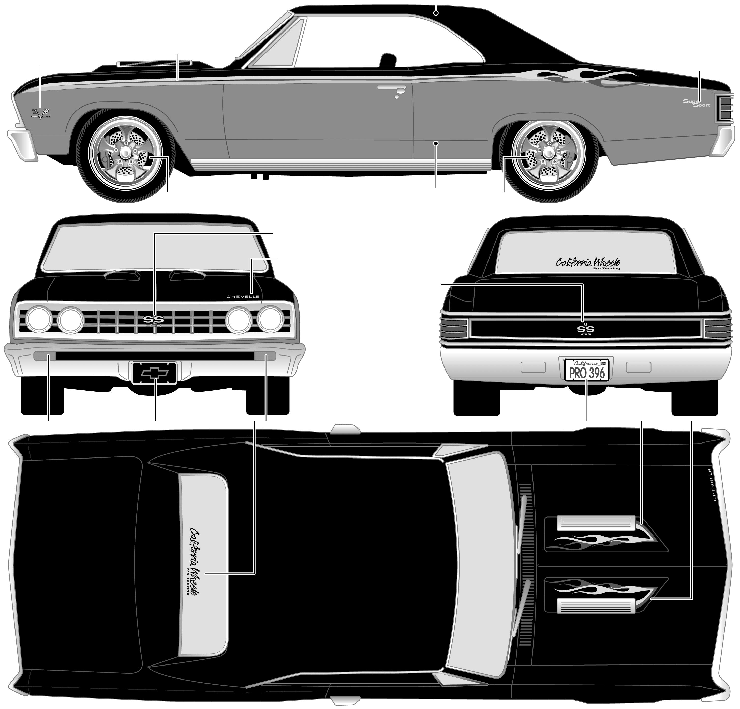 1967 chevelle clipart jpg stock 1967 Chevrolet Chevelle SS 396 Coupe blueprints free - Outlines jpg stock